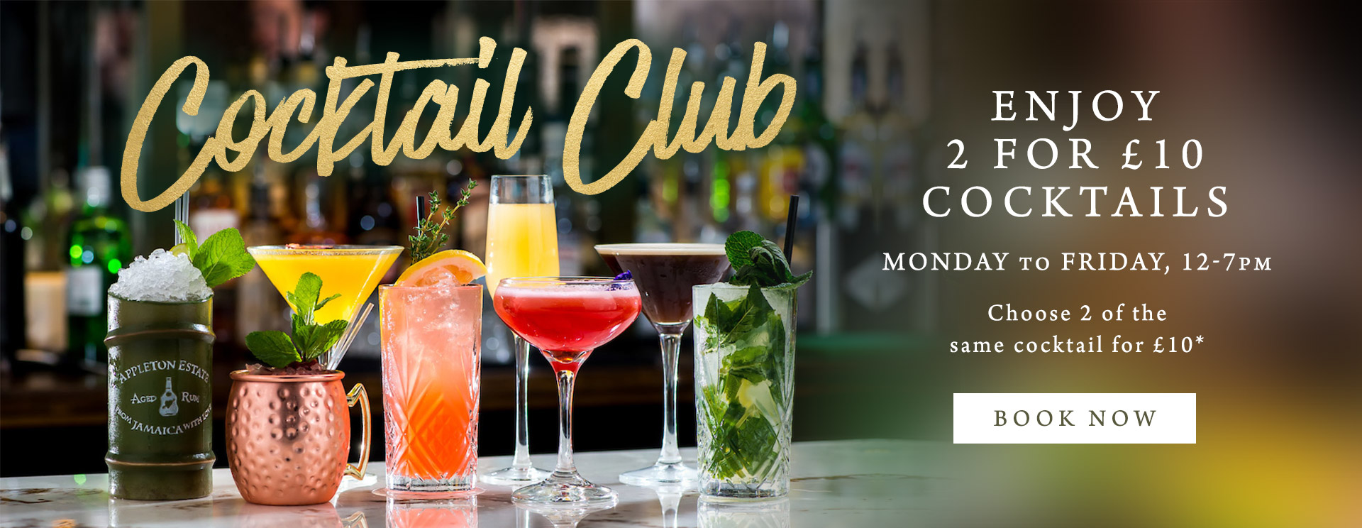 2 for £10 cocktails at The Coombe Cellars